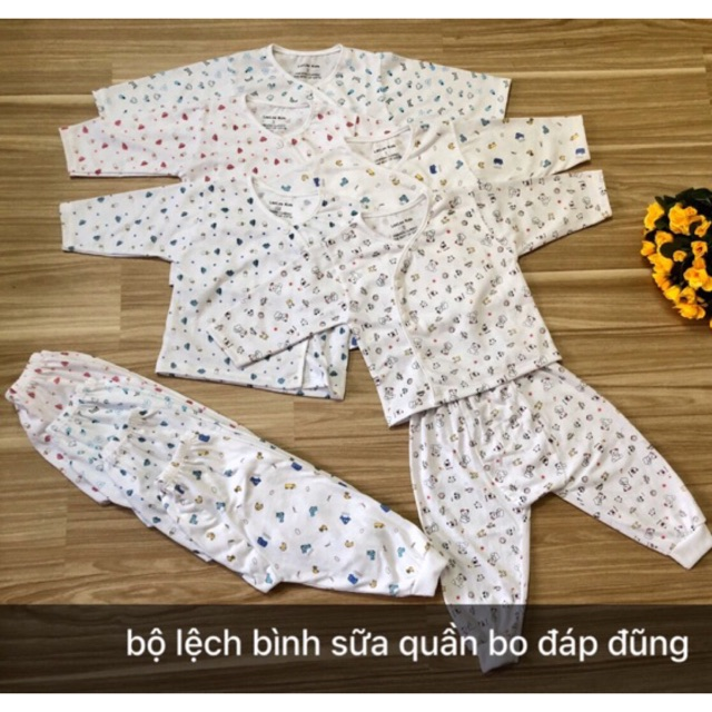 Bộ dài tay khuy lệch bình sữa quần bo đáp đũng cho bé sơ sinh đến 9kg