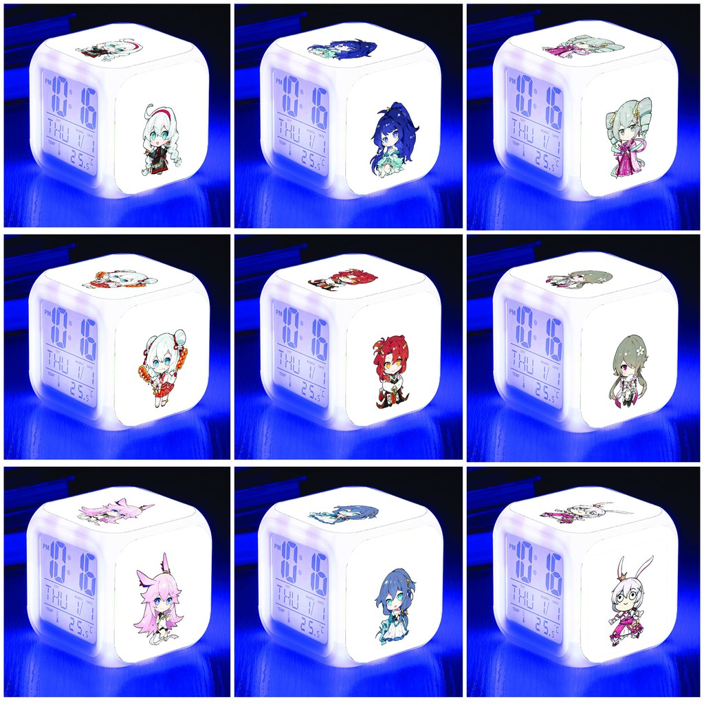 Đồng hồ báo thức để bàn in hình HONKAI IMPACT game anime chibi LED đổi màu