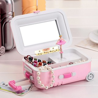 New Luggage Ballet Girl Music Box Jewelry Storage Organizer