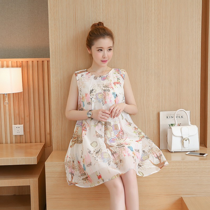Đầm (Váy) Bầu Kiểu Dáng Hàn Quốc Họa Tiết