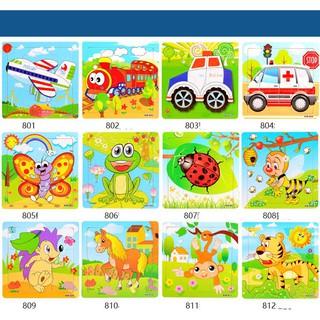 [ĐỒ CHƠI GỖ] Combo 12 – Ghép hình 9 mảnh nhiều chủ đề cho bé