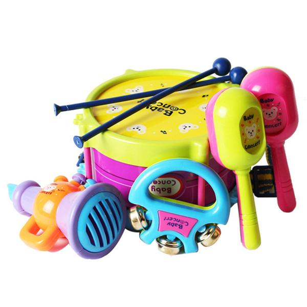 5pcs/set Baby Drum Set Baby Kids Drum Musical Instruments Band Kit Educational Toy