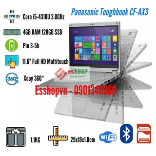 Laptop Panasonic CF-AX3 màn hình cảm ứng 11.6 inch Full HD xoay 360 độ 4GB RAM 128GB SSD Core i5-4200U – Likenew 98%