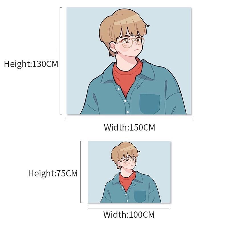 Tặng kẹp treo- Rèm vải treo tường BTS phong cách truyện tranh anime