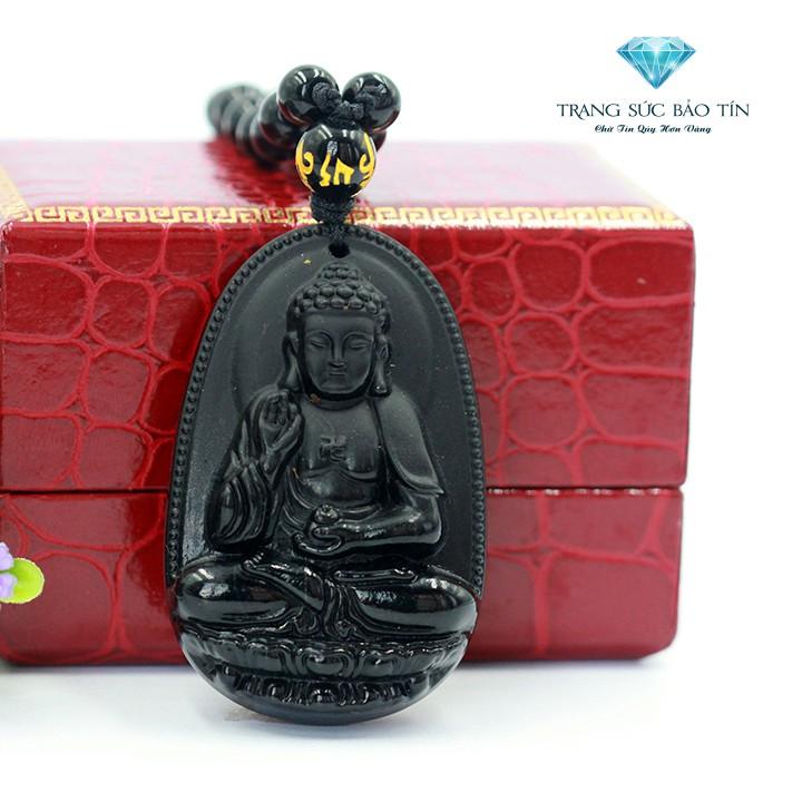 Mặt Dây Chuyền Phật Bản A Di Đà Đá Obsidian - Bảo Tín