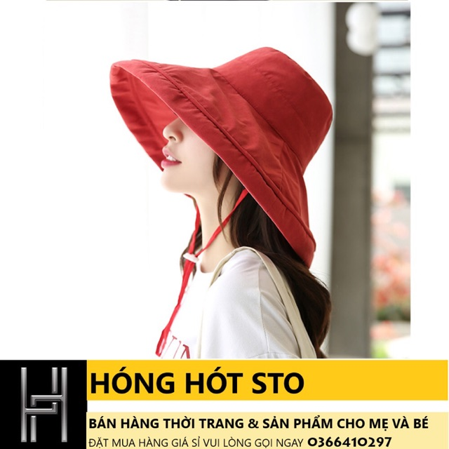 Mũ vải vành rộng che nắng- đi học, đi du lịch
