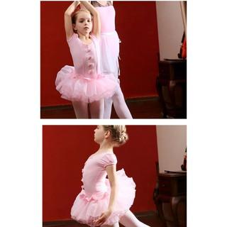 Váy múa ballet đính nơ cho bé gái (ngắn tay / dài tay) - sẵn 120 xanh cực xinh