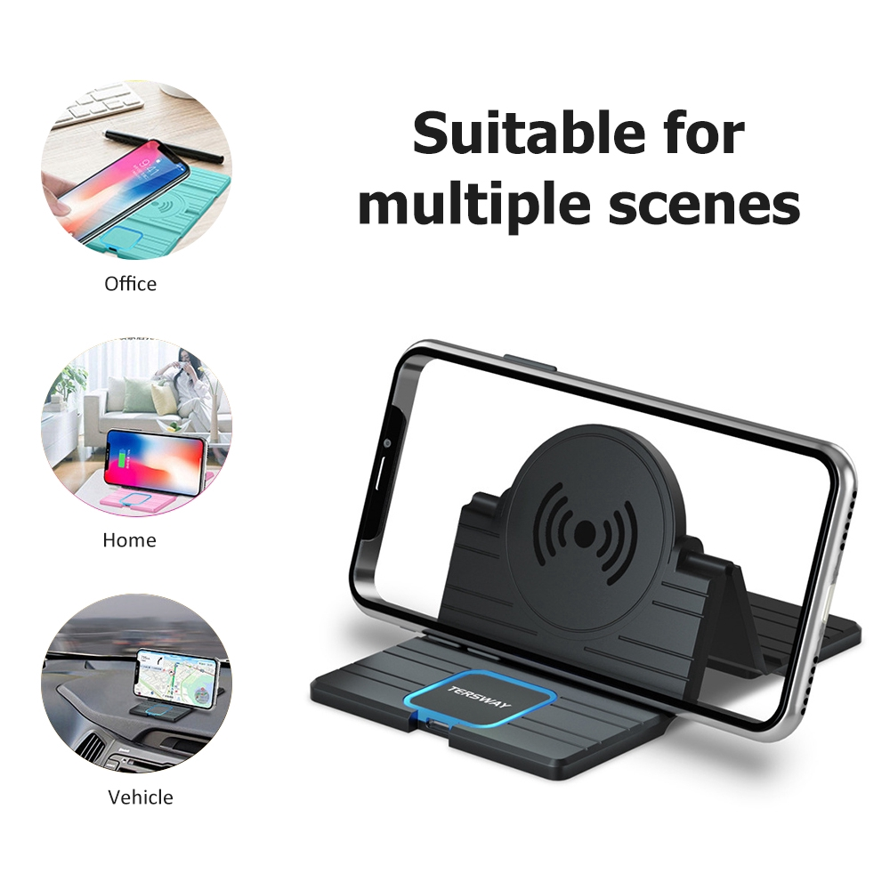 15W Silicone Wireless Car Charger Pad Foldable Fast Charging Base Station Non-Slip Phone Stand Holder For iPhone Android