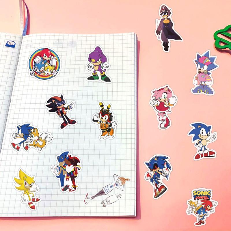 Set 100 miếng sticker dán trang trí chống thấm hình nhân vật trong Sonic the Hedgehog
