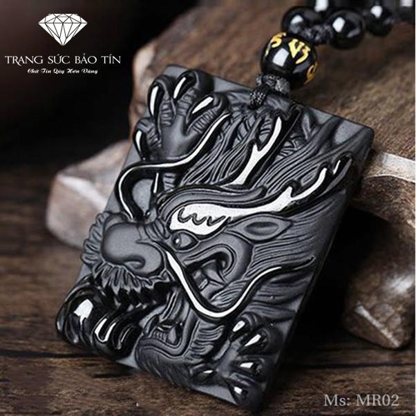 Mặt Dây Chuyền Đầu Rồng bản Vuông Obsidian Bảo Tín