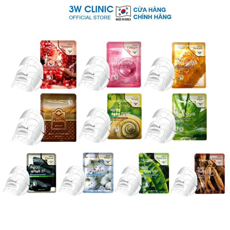 Mặt nạ giấy - Mask dưỡng trắng da dưỡng ẩm chiết xuất từ thiên nhiên 3W CLINIC Hàn Quốc 23ml [ Ngẫu Nhiên / Lẻ 1 Miếng ]