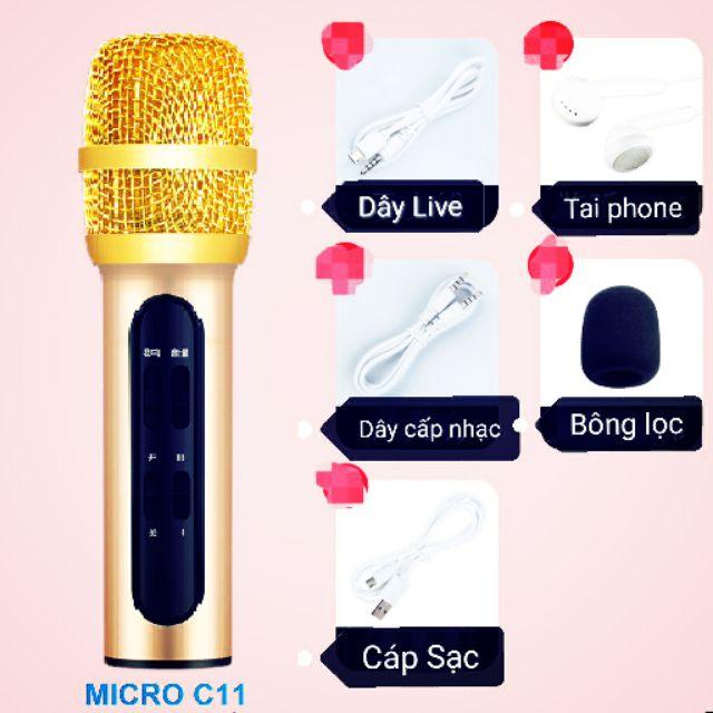 Bộ Micro C11 Live Stream, Hát Karaoke Chuyên Nghiệp Mới, Đầy Đủ Phụ Kiện Tai Nghe, Cáp Sạc,