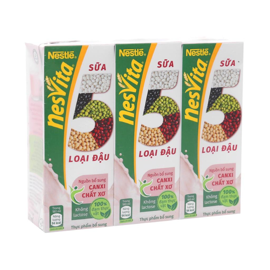 (Date 2020) Lốc Sữa 5 loại đậu NESTLÉ NESVITA uống liền 3x180ml