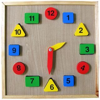 Đồng hồ học số học hình bằng gỗ