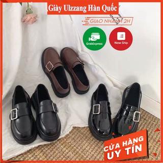Giày ulzzang nữ da mềm khuy vuông phong cách hàn quốc (giày chất đẹp)