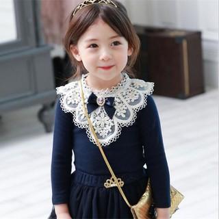 Áo kiểu tay dài màu trơn cho bé gái