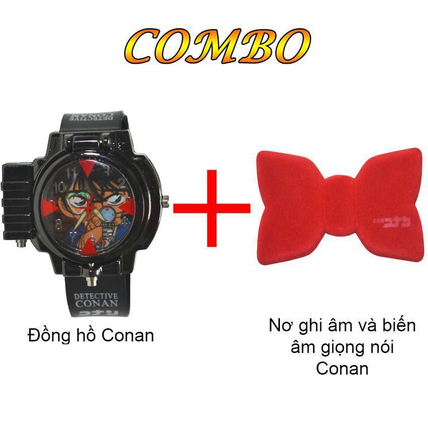 Combo Đồng hồ Trẻ Em Conan Đeo Tay Bắn Laser Và Nơ Conan Ghi Âm Và Biến Âm Giọng Nói