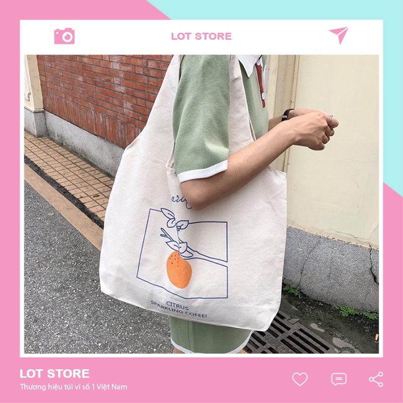 Túi tote vải đeo chéo canvas bag giá rẻ đẹp đi học TX337