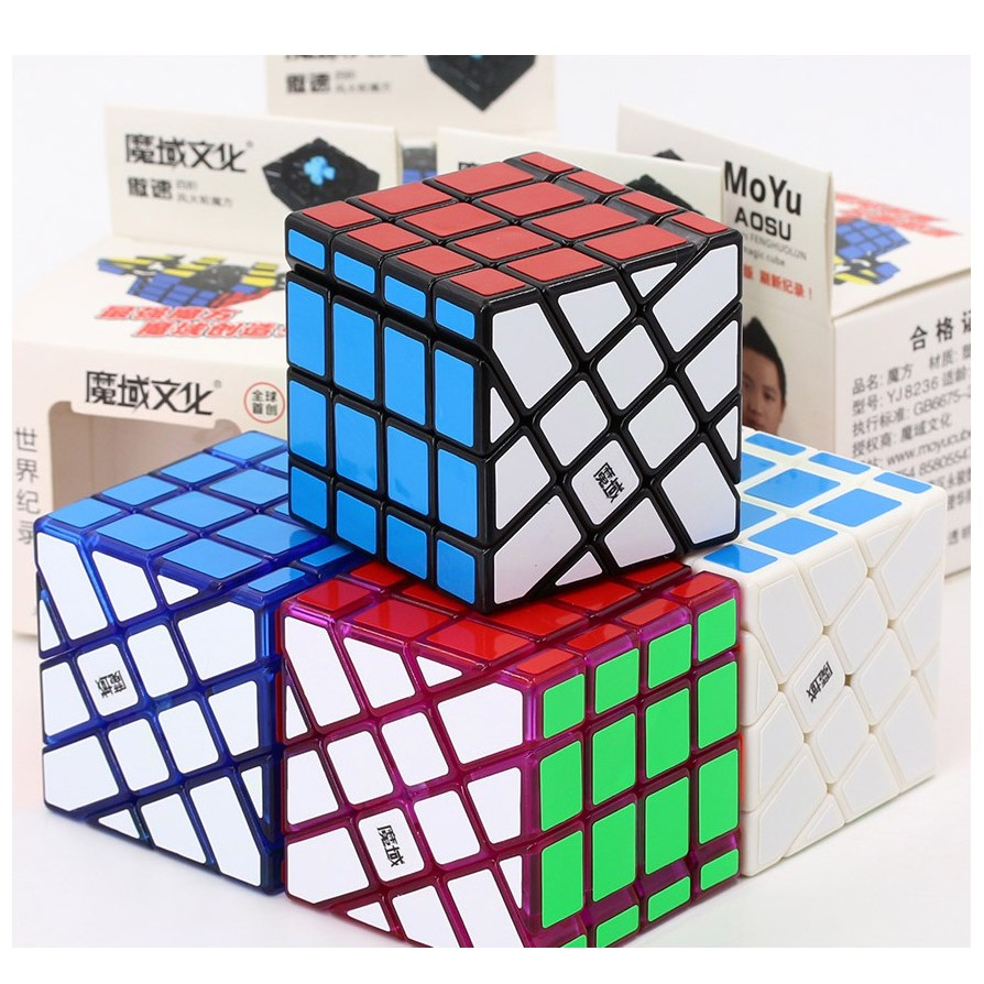 MoYu AoSu Windmill 4×4 Transparent Ice Blue / Purple Rubik Biến Thể 6 Mặt