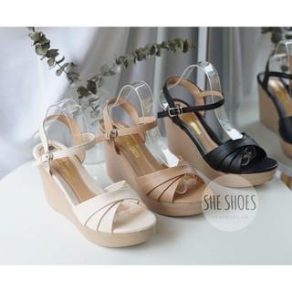Giày xuồng nữ siêu nhẹ 9cm phối quai chéo