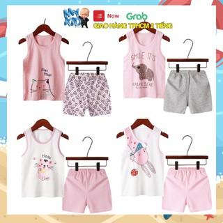 Bộ quần áo trẻ em ba lỗ mùa hè ,đồ bộ bé gái, bộ quần áo thun cho bé chất cotton xuất Hàn Quốc 2