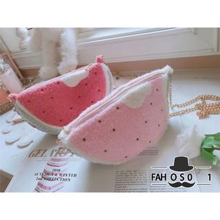 832a667c3b93 Cartoon watermelon mushroom cute parent-child small bag Messenger ...