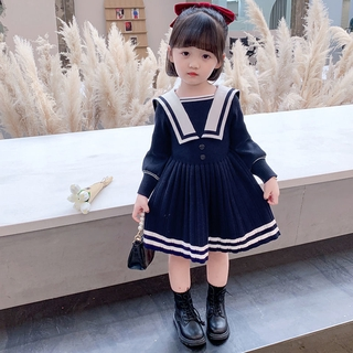 Girls' autumn and winter dresses new Korean children's long-sleeved woolen skirts girls foreign princess dresses tide baby