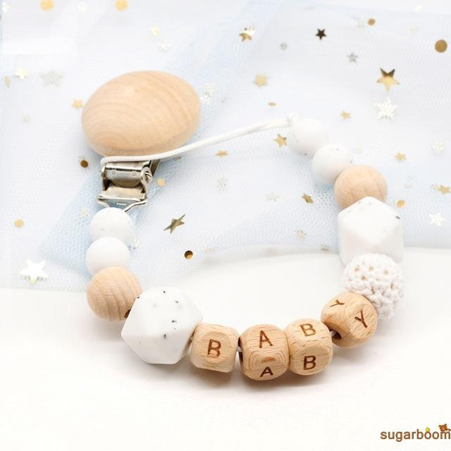 Sgm★Custom Name Silicone Pacifier Chains Teether Chain Teething Holder Shower Gift