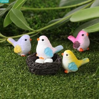 LETTER Funny Landscape Figurine Baking Resin Miniatures Miniature Bird Figurines Landscape DIY Decoration Crafts Garden Supplies Mini Sculpture Fairy Garden Micro Ornaments