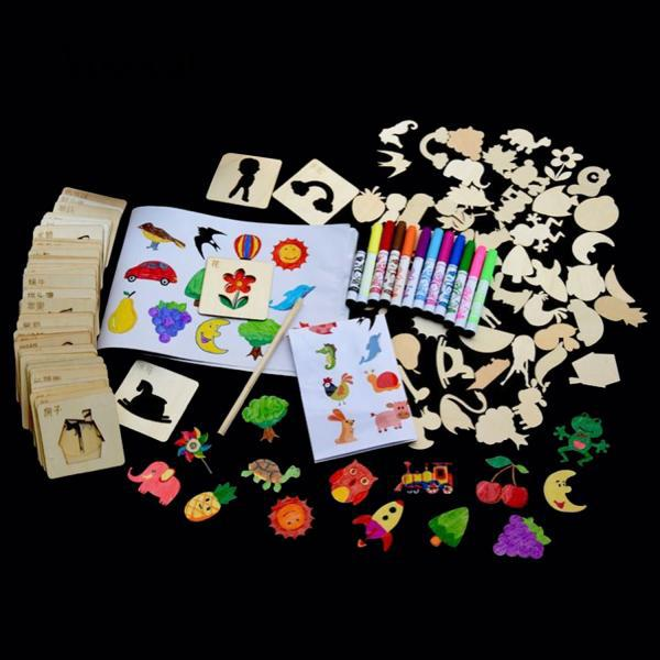 Vococal 120PCS Drawing Stencil Tool Kit Set with Watercolor Reference Kids