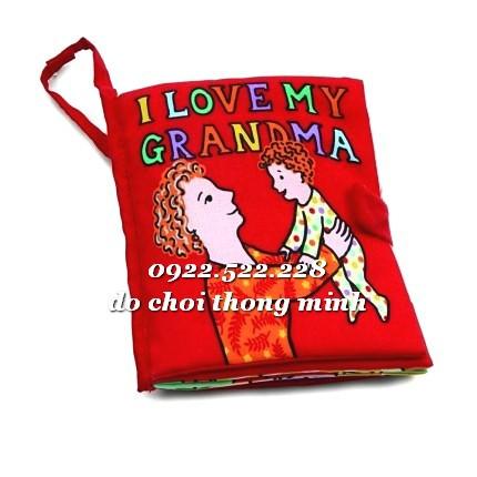 Sách vải tương tác cháu yêu bà love Granma quiet book