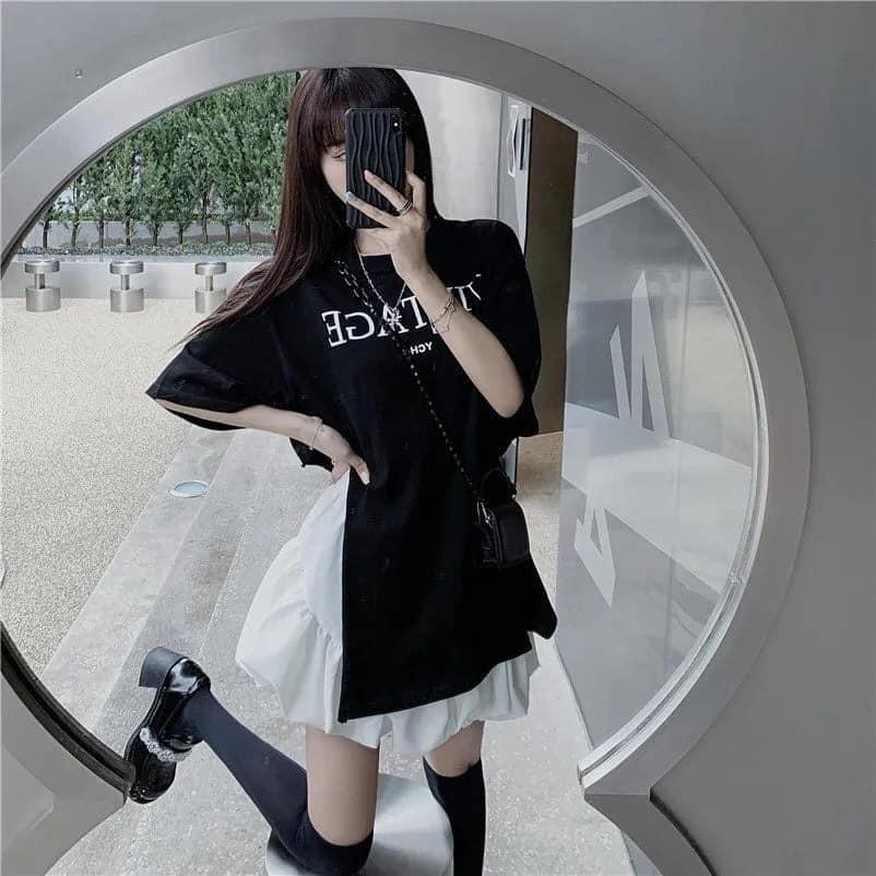 [ Mã FAMAYWA2 giảm 10K đơn 50K] Set Bộ Áo Vintage Xẻ Tà + Chân Váy Bánh Bèo Tầng Hot Trend Ulzzang Thời Trang Nữ