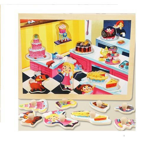 Xếp hình có núm cầm chủ đề công chúa và bánh