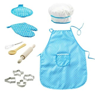 Role Play Kitchen Toys Cooking Kitchenware Set Baking Tools Aprons For Girls Chef Hat Mitt Utensil Kids Dress Up