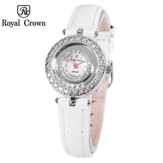 Đồng hồ chính hãng Royal Crown 5308 Leather Strap Watch (Trắng)