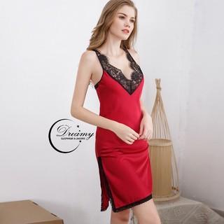 DREAMY VS01-70 Váy ngủ lụa cao cấp hai dây phối ren quyến rũ thumbnail