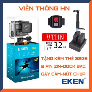 Camera hành trình Eken h6s 4k ultra hd chống nước chống sốc - Tặng kèm 2 pin + dock sạc đôi + gậy cầm - tặng thẻ 64gb thumbnail