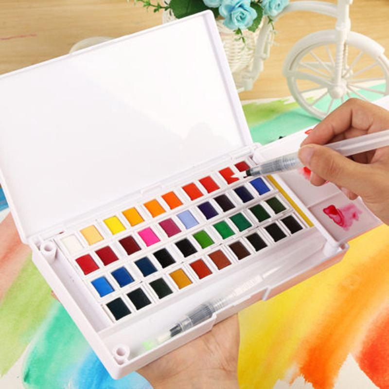 10/12/16/28/36 Colors Solid Watercolor Paints Set Pigments Box+Brush Art Supply