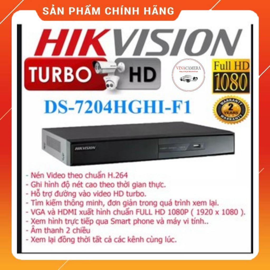 Đầu ghi  4 kênh TVI Hikvision DS-7204HGHI-F1 - CAM KẾT CHÍNH HÃNG
