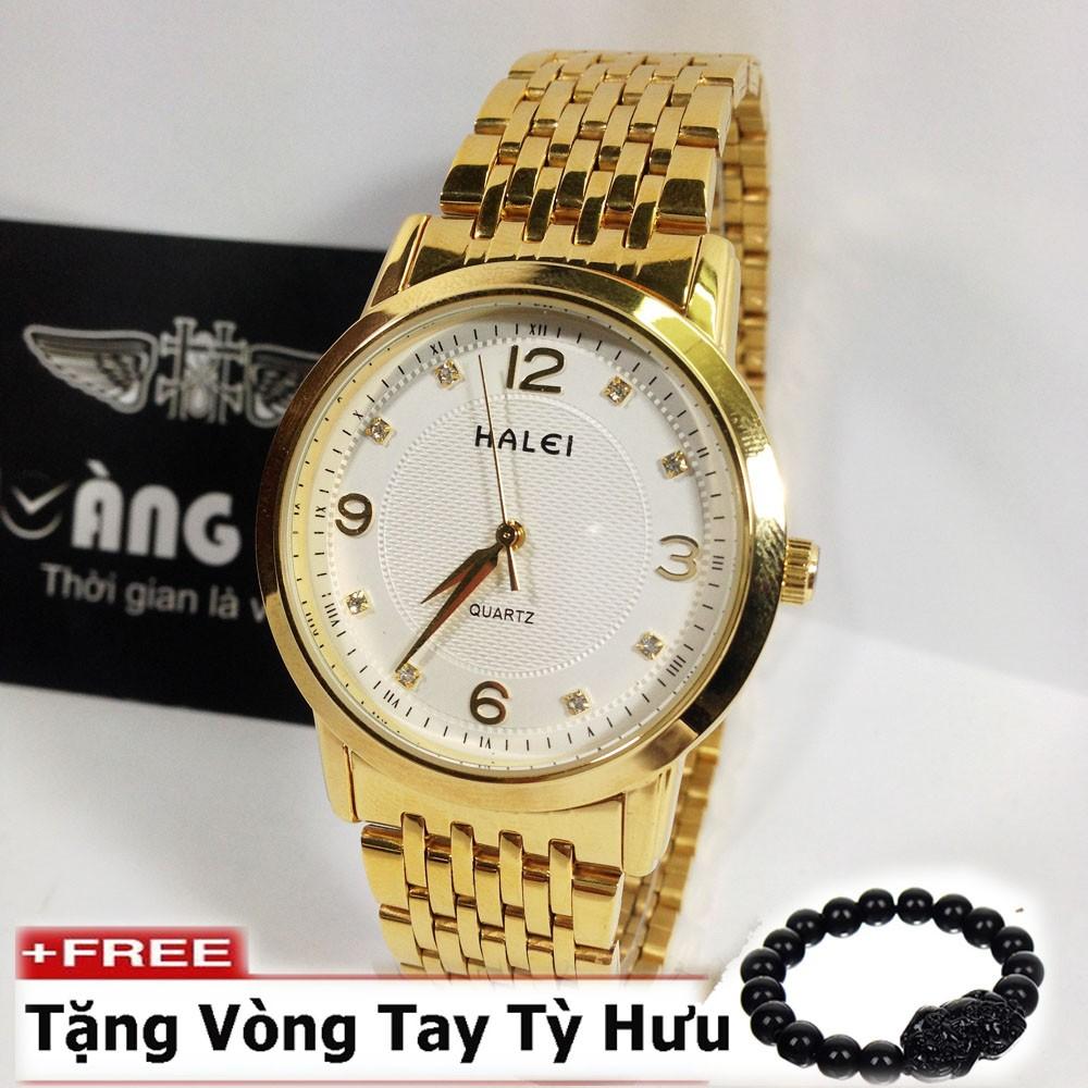 Đồng hồ nam dây thép không gỉ cao cấp HALEI ( Mặt trắng )