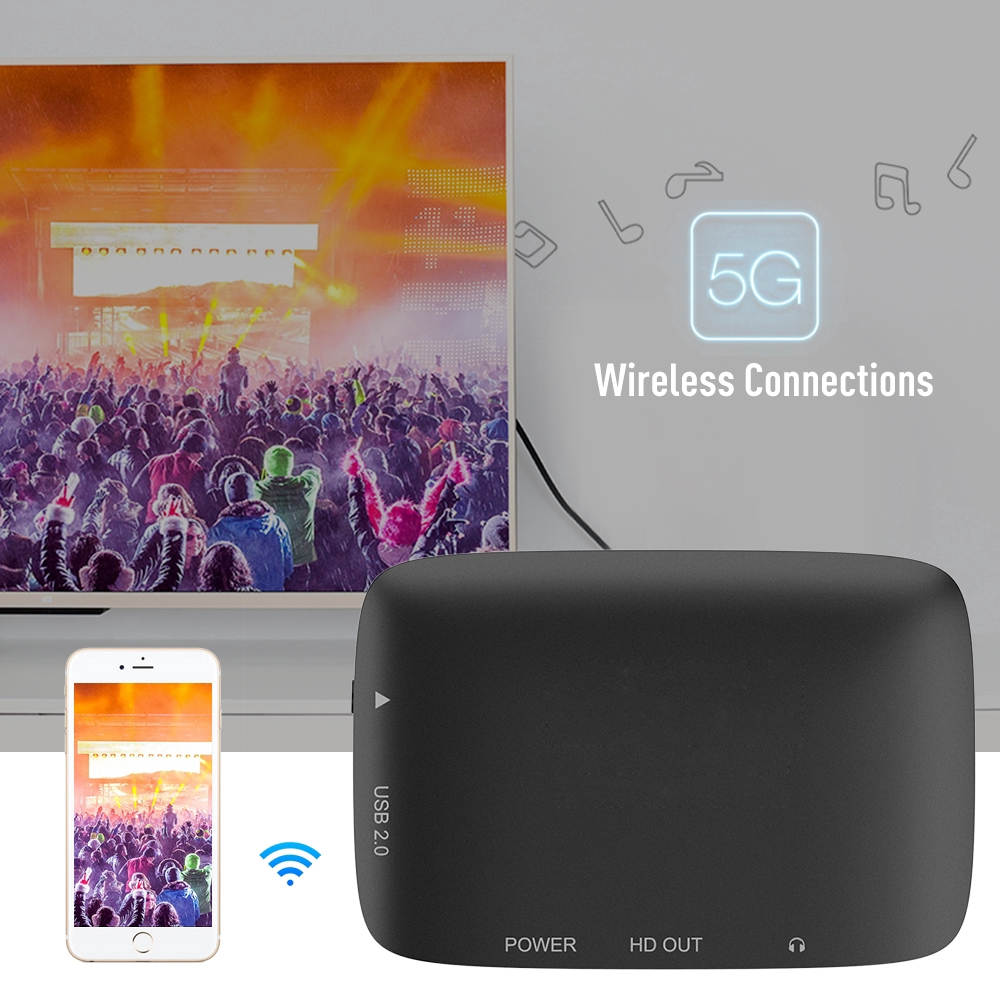 Wireless Dual Frequency 2.4Ghz/5Ghz WiFi Screen Video Same Screen TV Stick