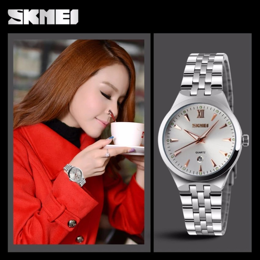 Đồng hồ nữ dây thép không gỉ Kim Skmei 9071 mặt trắng kim nâu cực yêu