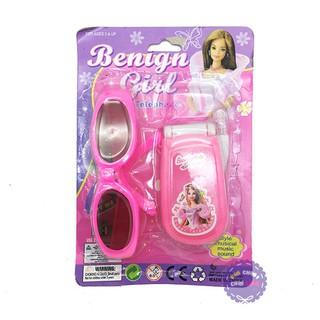Vỉ đồ chơi điện thoại & mắt kính thời trang Benign Girl dùng pin