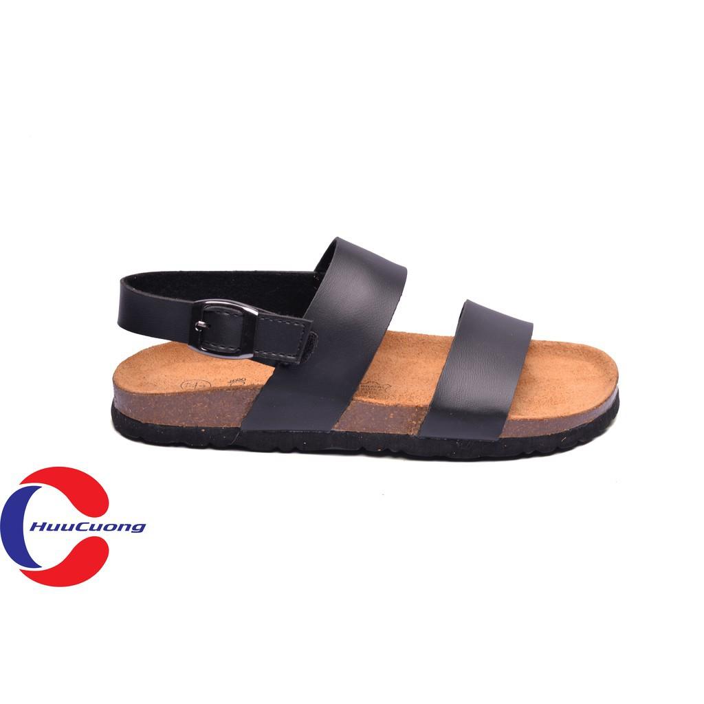 Hình ảnh Sandal unisex thời trang HuuCuong - 2 quai đế trấu( đen)-2