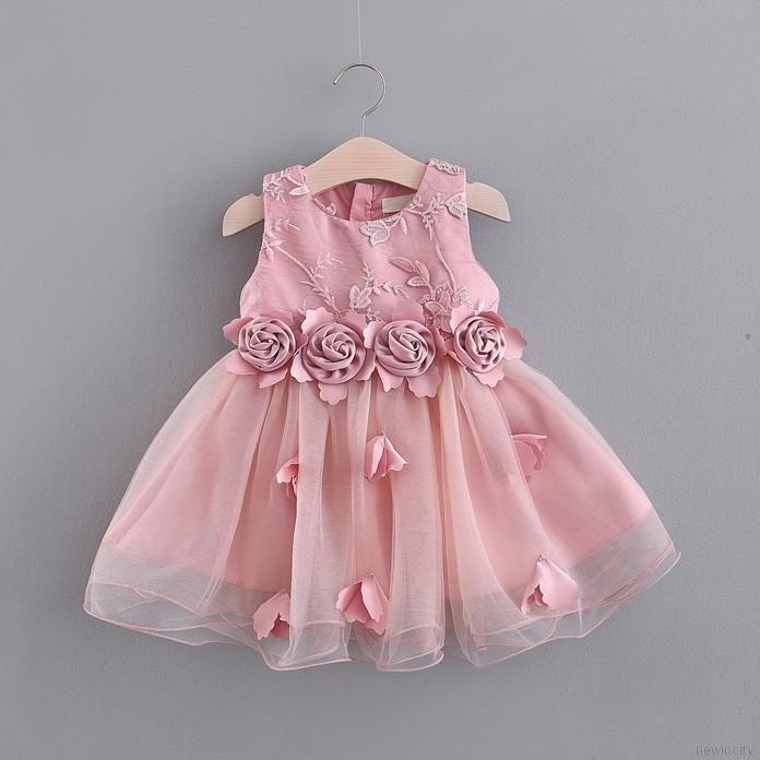 Đầm không tay phối ren nhiều tầng dễ thương cho bé gái
