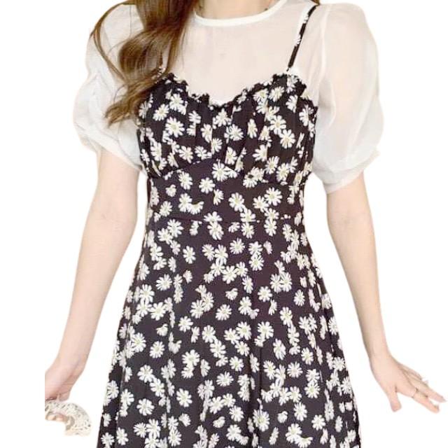 Váy 2 Dây Hoa Đầm Dáng Xòe, Váy 2 Dây Tay Voan Đũi Lụa Hoa Cúc Dáng Dài