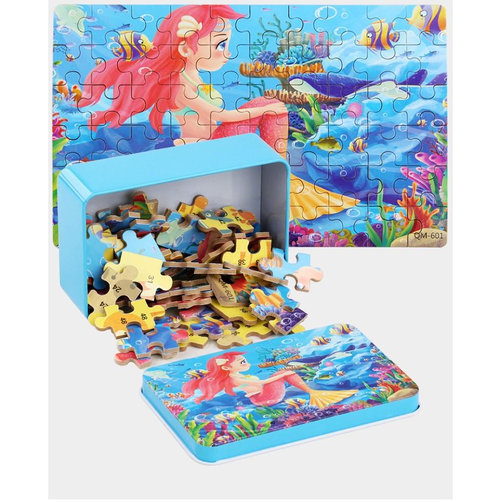 Tranh ghép hình cho bé, đồ chơi gỗ xếp hình thông minh 60 miếng kèm hộp thiếc (Combo 2 bộ tranh)