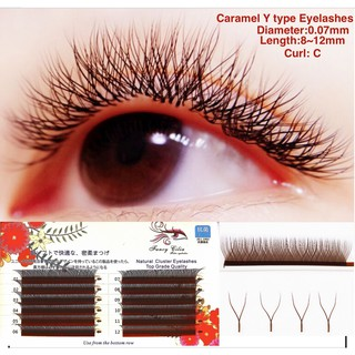 Brown Color Y type Eyelashes Curl C,D Thickness 0.07mm Braided Love Mesh YY shape Individual Mink Eyelash extension Natural soft Handmade