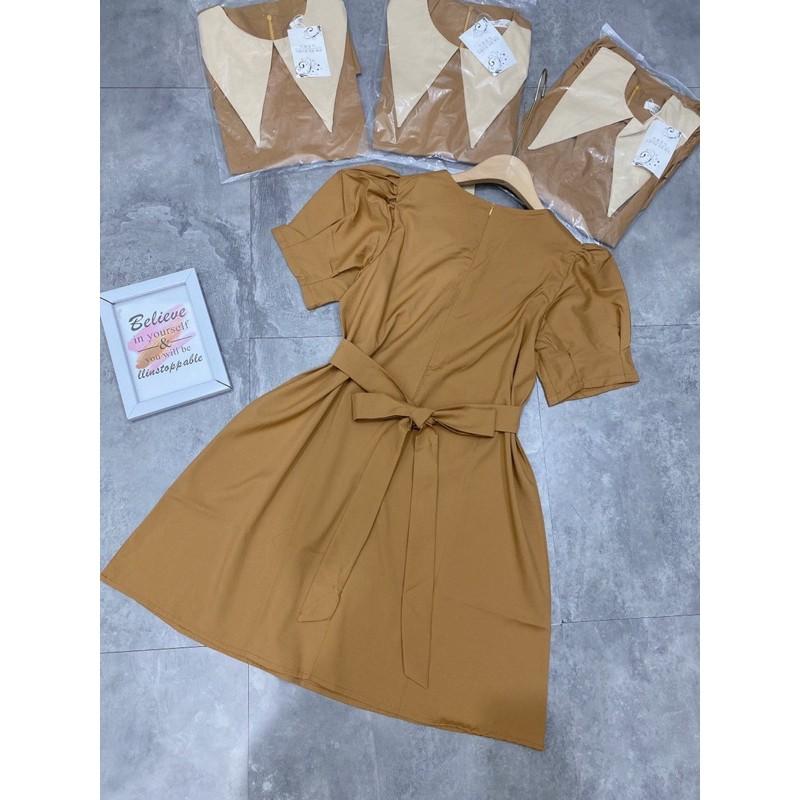 Mặc gì đẹp: Bồng bềnh với [Siêu Hot] Váy Nâu Cổ Phối Tay Phồng , Đầm Nữ Thiết Kế Tay Cộc Dáng Suông Có Ảnh Thật Kèm Video