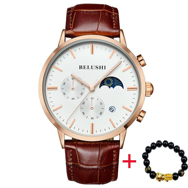 Đồng hồ nam chạy 6 kim BELUSHI B9922 doanh nhân dây da cao cấp + Tặng vòng tay phong thủy